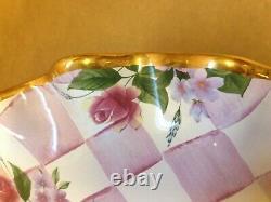 Rare MacKenzie Childs Honeymoon Cake Stand Pedestal Pink Rose Check Fluted Rim