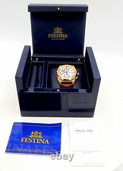 Rare Men's Festina Heavy 18k Rose Gold Shockwave Chronograph Watch, 7750 Mov