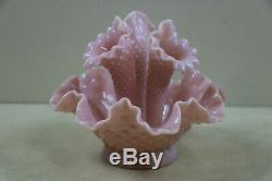 Rare Mini Fenton Vintage Epergne 1950's Rose Pink Milk Glass Hobnail
