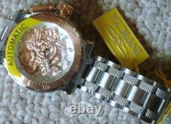 Rare New 26509 Invicta Coalition Dragon Rose Gold & Silver 52mm Automatic Watch