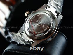 Rare New Legend Men's Deep Blue Diver Auto Sapphitek BLK Dial 18KRG IP SS Watch