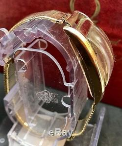 Rare Omega 14K Solid Rose Gold Rectangular Case Curvex With JB Champion Bracelet