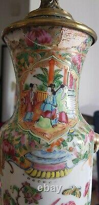 Rare PAIR of Fine Chinese Cantonese Rouleau-Shaped Famille Rose Medallion Lamps