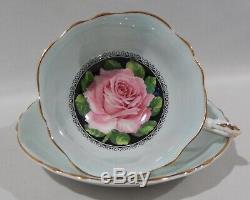 Rare PARAGON FLOATING PINK ROSE CUP & SAUCER BLACK & AQUAMARINE Background MINT