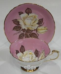 Rare PARAGON FLOATING WHITE ROSE ON PINK BACKGROUND CUP & SAUCER MINT c1938-52