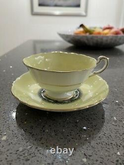 Rare PARAGON Floating Pink Rose Cup & Saucer Pastel yellow & Gold Lovely cond