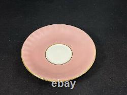 Rare PINK Aynsley Pink Rose Brocade Cup & Saucer