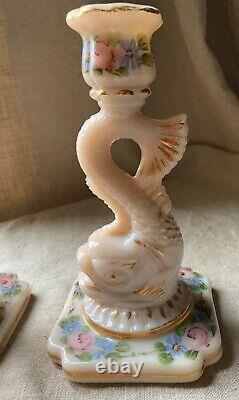 Rare Pair Cambridge Glass Crown Tuscan Dolphin Candlesticks Charlestons Rose