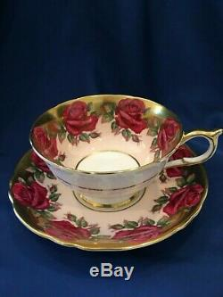 Rare Paragon Red Cabbage Rose Pink China Cup Saucer Heavy Gold A1437 wide mouth