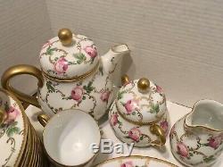 Rare Prussia Beyer & Bock Full Tea/desert Set Servic For 12 Pink Rose Free Ship
