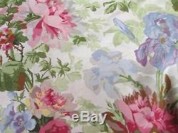 Rare Ralph Lauren POND VIEW White Green Pink Roses Floral Sheet Set Queen