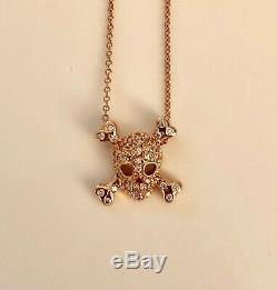 Rare Roberto Coin Tiny Treasures 18k Rose Gold Diamond Skull Pendant Necklace