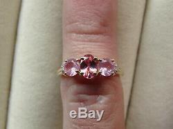 Rare Rose Pink Spinel Natural Trilogy & Diamond 10K Yellow Gold Ring Size J-K/5