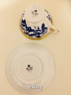 Rare Royal Albert Treasure Chest Series Blue Rose Tea Cup And Saucer Avon Shape
