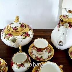 Rare Royal Chelsea Golden Rose Teapot, Coffee Pot, Cups Saucers