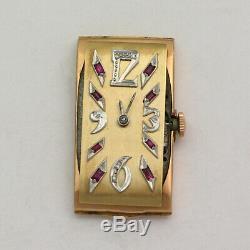 Rare Ruby & Diamond Dial Vintage 14K Rose Gold Longines 17J 9L Wristwatch