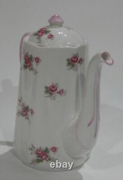 Rare SHELLEY PINK BRIDAL ROSE Individual size COFFEE POT Dainty Shape MINT COND