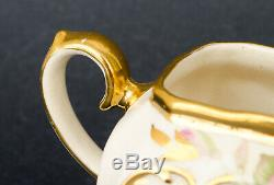 Rare Sadler Cube Teapot Cabbage Pink Rose Gold 1949 with Cream & Sugar