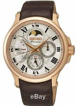 Rare Seiko Premier Kinetic direct drive srx008 Moon Phase Rose gold watch 5d88