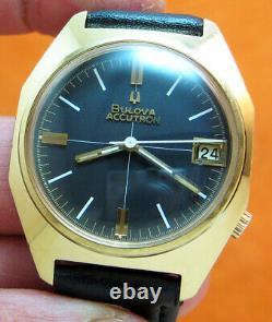 Rare Serviced Accutron 218d Bulova Gold Electroplate Tuning Fork Men's Watch N4
