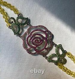 Rare Silver Pink Rose Belle Disney Swarovski Crystal Beauty & Beast Bracelet
