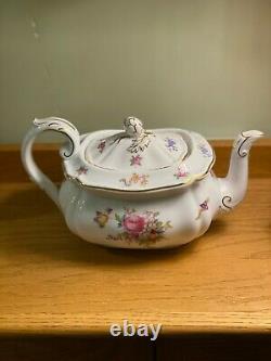 Rare Spode Copeland China Dresden Rose Teapot Tea Pot Excellent Condition