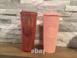 Rare Starbucks Iridescent Studded Rose Gold & Matte Pink Tumbler Cold Cup- 24oz