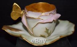 Rare T & V Limoges Porcelain Art Nouveau Flower (Rose) Cup and Saucer