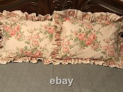 Rare! VTG Laura Ashley Country Roses Pink Floral Ruffled Pair STD Pillow Shams