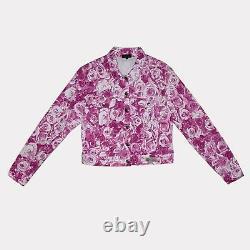 Rare Versace Roses Jacket Classic V2 Vintage Size L Monogram White Pink