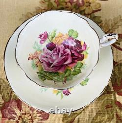 Rare Vintage Antique Cream Paragon Teacup Large Pink Cabbage Roses Cup & Saucer