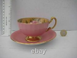 Rare Vintage Aynsley England Cabinet Tea Cup Saucer Cabbage Pink Roses