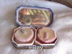 Rare Vintage Boudoir Metallic Lace Pink Blue Yellow Silk Ribbon Roses Compact