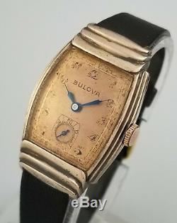 Rare Vintage Bulova 10ba Mens Watch Fancy Ribbed Rose Gold F Sterling Ss Case