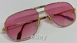 Rare Vintage Cartier Rose Lenses Tank Sunglasses- Gold Plated- 1980's