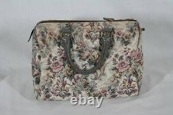 Rare! Vintage French Luggage Co Gray Rose Suede & Tapestry Small Dr. Bag Purse