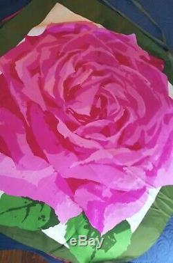 Rare Vintage Ken Scott Saks Fifth Av Silk Scarf Dress Rose Italy Small/Medium 10