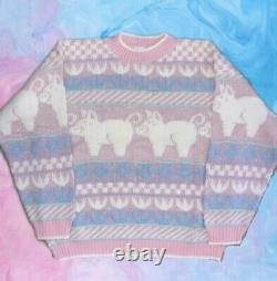 Rare Vintage Pastel Pink Pig Sweater Rose Adele Arielle Kawaii 80s Fairy Kei
