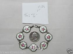 Rare Vintage Sterling & Guilloche White Pink Enamel Rose Saints Bracelet 7