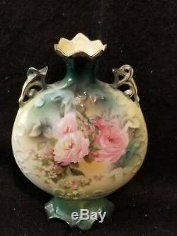 Rare form R. S. PRUSSIA PORCELAIN signed green with pink roses floral vase