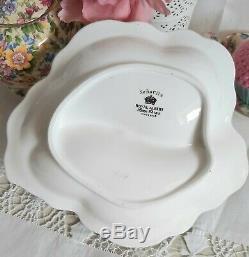 Royal Albert Senorita Rare Divided Serving Dish 1950's Black Lace Pink Roses