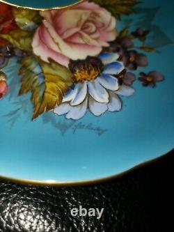 SPECTACULAR and RARE Aynsley Cabbage Rose Teacup and Saucer Signed J A Bailey