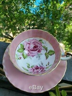 SPECTACULAR and RARE Pink Aynsley Cabbage Rose Teacup and Saucer Massive Roses