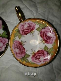 STUNNING and RARE Aynsley GOLD-9 Pink Cabbage Roses Teacup and Saucer- EXCELLENT