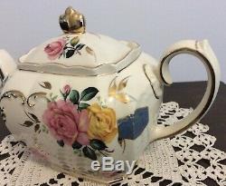 Sadler Teapot Large Pink and Yellow Rose Cubed Teapot RARE