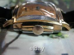 Serviced 1930`s Helbros. Rare Rose Gold Filled Art Deco Stepped Stepped Case