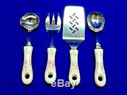 Set of 4 Vintage Pfaltzgraff Tea Rose Stainless Utensil Flatware Silverware RARE