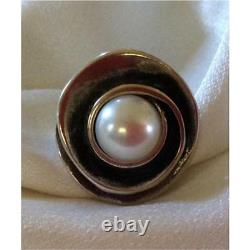 Silpada Pearl Rose Sterling Silver Rare Size 10 Lily Pearl Ring R2121 $96 HTF sz