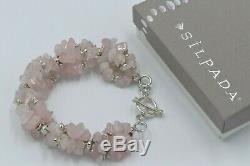 Silpada Sterling Silver Rose Quartz Pink Chunky Bracelet B0929 2004 RARE