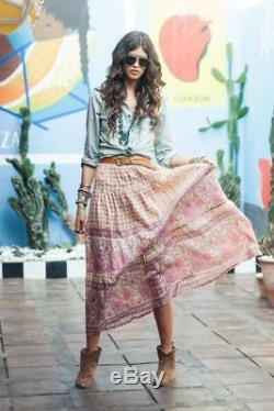 Spell & The Gypsy Free People Desert Rose Pink Floral Print Maxi Skirt Rare